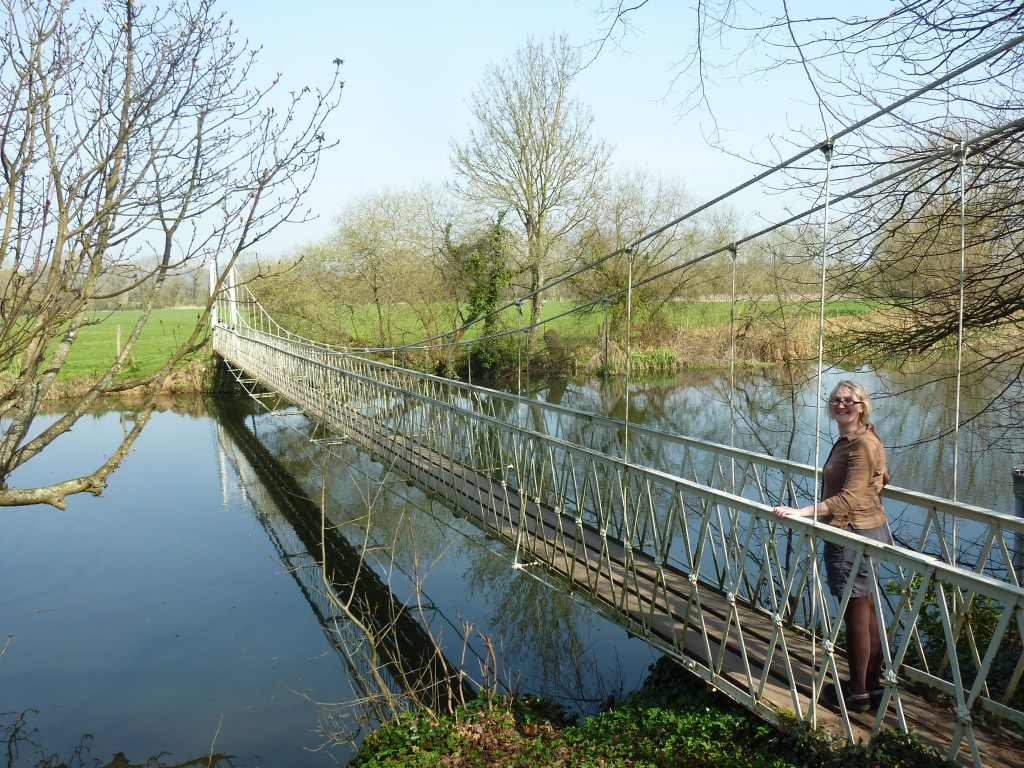 Wobbly footbridge across the Stour