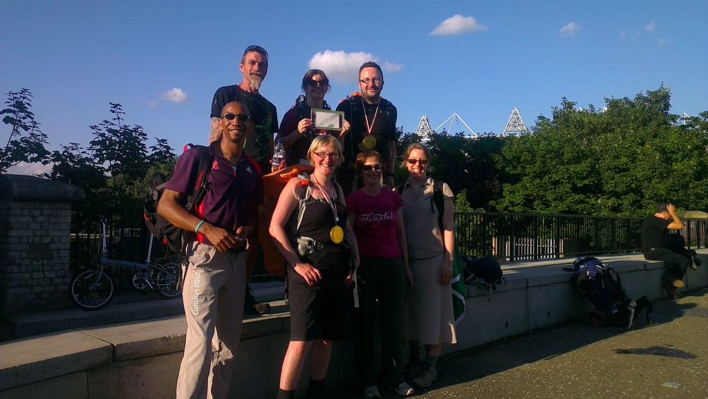 Greg and Sharon walked with Hodge, Liz, Me, Felix and Liz  to the Olympic Park