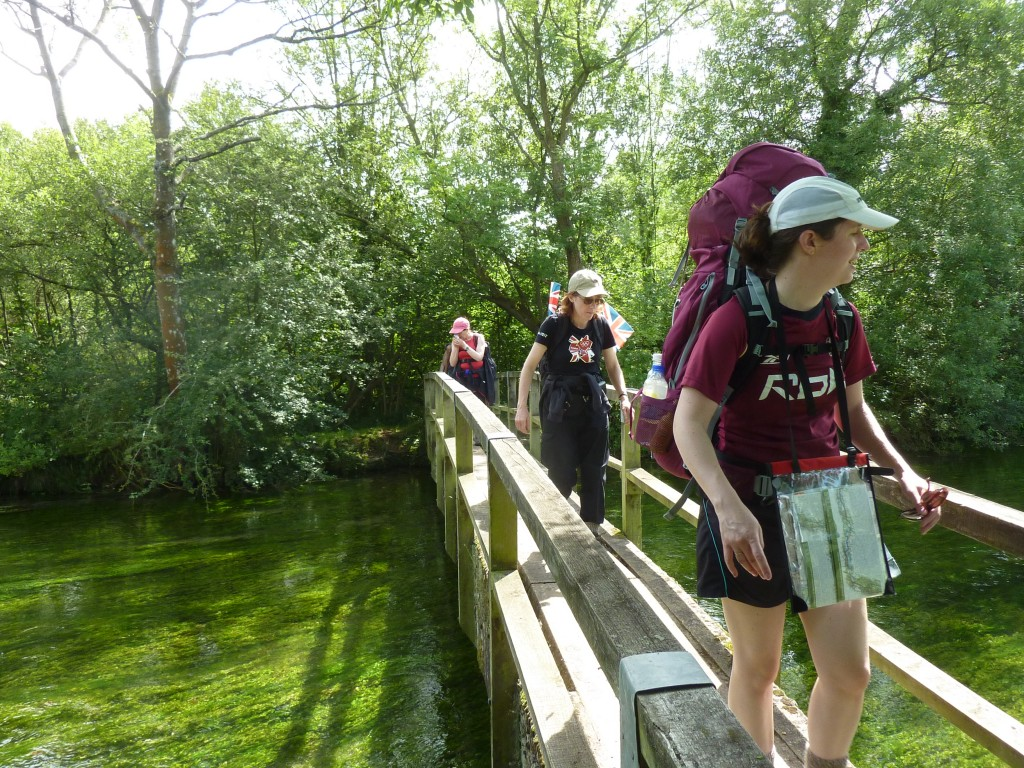 Liz leading the way across the Itchen